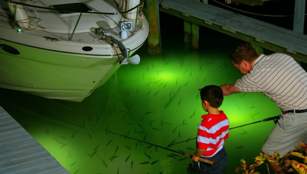 FATHER AND SON FISHING AT DOCK LIGHT